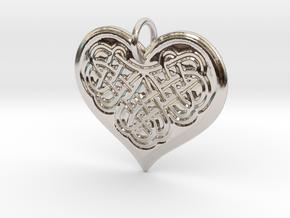 Celtic Shamrock Heart Pendant in Rhodium Plated Brass