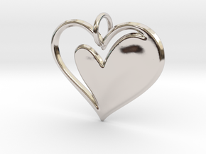 Heart to Heart Pendant V1.0 in Rhodium Plated Brass