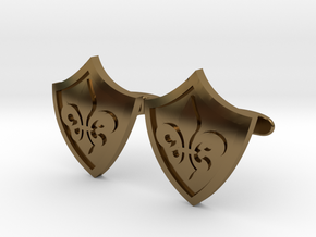 Fleur De Lis Shield Cufflinks in Polished Bronze