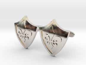Fleur De Lis Shield Cufflinks in Rhodium Plated Brass