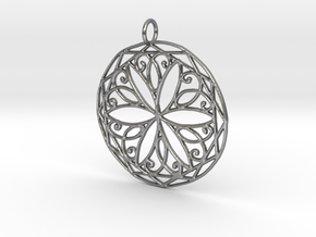 Arabesque Knot Pendant in Raw Silver