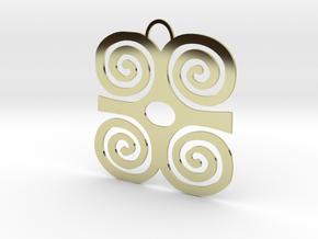 Adinkra Symbol of Strength Pendant in 18k Gold Plated Brass