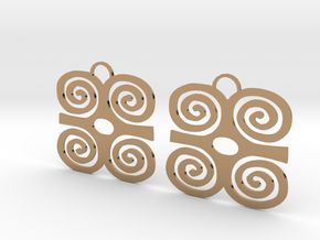 Adinkra Symbol of Strength Earrings in Polished Brass