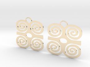 Adinkra Symbol of Strength Earrings in 14k Gold Plated Brass