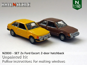 SET 2x Ford Escort 2-door hatchback (US) (N 1:160) in Smooth Fine Detail Plastic