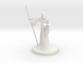 Human Wizard with Staff in White Natural Versatile Plastic