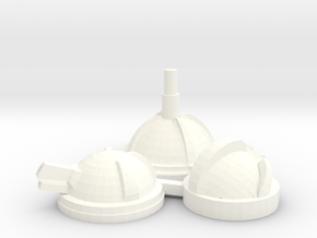 Blister Turrets in White Processed Versatile Plastic