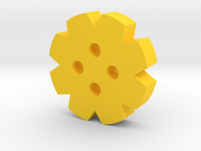 Gear Button in Yellow Processed Versatile Plastic