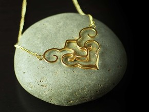 Chinese Wishful Cloud Symbol Necklace  in Raw Brass
