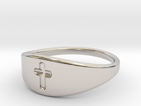 Cross ring A (US sizes 5.75 – 9.75) in Rhodium Plated Brass: 9.75 / 60.875