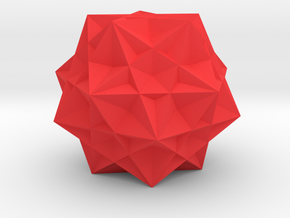 Five cubes inside a dodecahedron in Red Processed Versatile Plastic