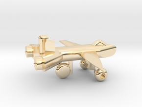Jet w/ landing gear in 14k Gold Plated Brass