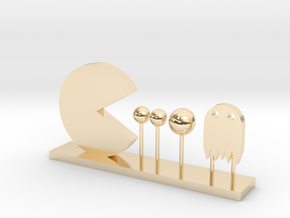 Pacman and Ghost in 14k Gold Plated Brass