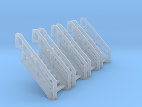 Z Scale Industrial Stairs 7 (4pc) in Smooth Fine Detail Plastic