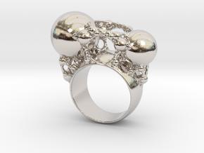 Kleinian Ring in Rhodium Plated Brass