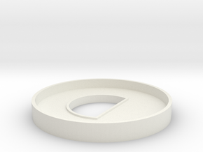 HIC 40mm Ring with D in White Natural Versatile Plastic