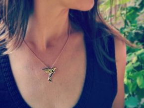 Origami Bird in 14k Rose Gold Plated Brass