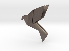 Origami Bird in Polished Bronzed Silver Steel