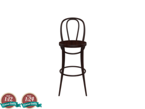 Miniature No18 Thonet Barstool - Thonet in White Strong & Flexible: 1:24