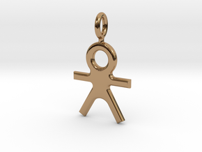 Human Pendant in Polished Brass
