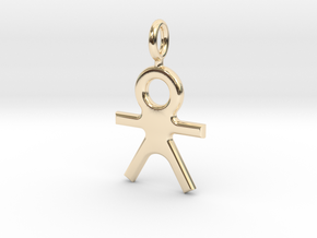 Human Pendant in 14k Gold Plated Brass