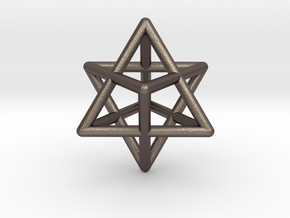 Merkaba pendant - extra small in Polished Bronzed Silver Steel