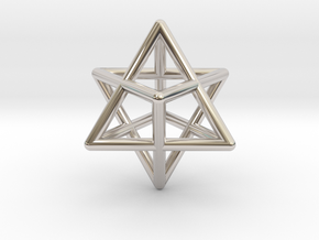 Merkaba pendant - extra small in Rhodium Plated Brass