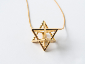 Merkaba pendant - extra small in 14k Gold Plated Brass