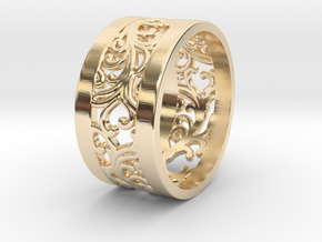 Ring Ornamental Plants V2 size 20mm in 14K Yellow Gold