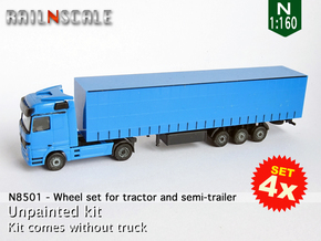 SET 4x Wheel set for tractor and semi-trailer (N) in Smoothest Fine Detail Plastic