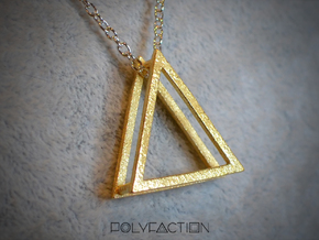 Wire ::: Triangle Pendant ::: v.01 in Polished Gold Steel