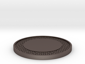 Lattice Drink Coaster Star Pattern in Polished Bronzed Silver Steel