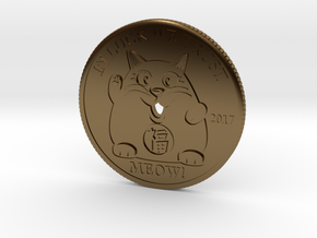 Lucky Cat Coin in Polished Bronze