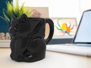 Bat cat mug  in Gloss Black Porcelain