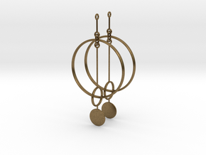 Interlinked Rings Earrings in Natural Bronze (Interlocking Parts)