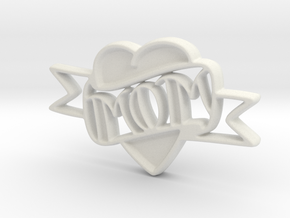 Creator Heart Pendant in White Natural Versatile Plastic