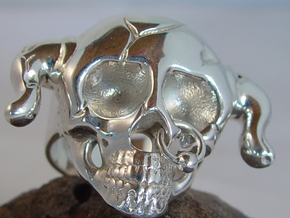 Nasty Skull Ring in Polished Silver (Interlocking Parts)