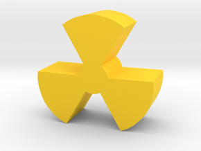 Game Piece, Radiation Symbol in Yellow Processed Versatile Plastic