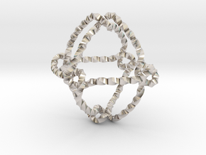 Octahedral knot (Twisted square) in Rhodium Plated Brass: Extra Small