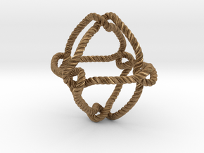 Octahedral knot (Rope with detail) in Natural Brass: Medium
