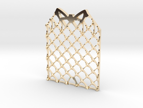 Grid Fin Coaster in 14k Gold Plated Brass
