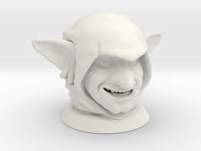 Goblin Head, Board Game Piece in White Natural Versatile Plastic