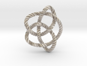 Knot 8₁₆ (Rope with detail) in Rhodium Plated Brass: Large