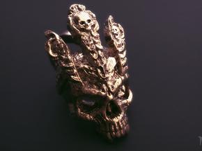 King of worm Skull Pendant in Raw Bronze