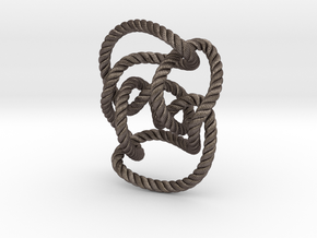 Knot 10₁₄₄ (Rope with detail) in Polished Bronzed Silver Steel: Large
