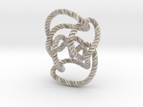 Knot 10₁₄₄ (Rope with detail) in Rhodium Plated Brass: Large