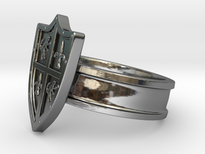 Shield Ring, Medieval in Fine Detail Polished Silver: 8 / 56.75