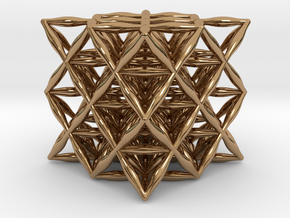 """Flower Of Life 64 Tetrahedron Grid 1.2"""" in Polished Brass"""