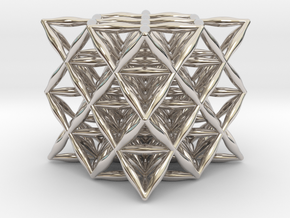 "Flower Of Life 64 Tetrahedron Grid 1.2"" in Platinum"