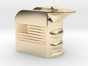 M4/AR15 Magwell Grip With United States Flag in 14k Gold Plated Brass